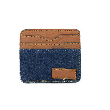 Edge Painted PU Card Case with Fabric