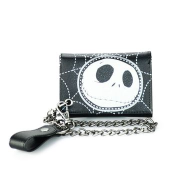 Black Printed PU Trofold Biker Wallet with Metal Chain