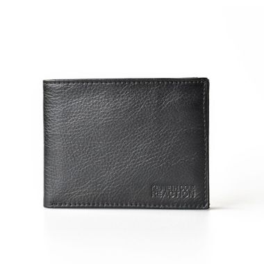 Man Black Leather Wallet with Flap Out ID Window