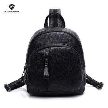 Small Black Pu Leather Backpack with Convertible Strap