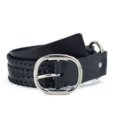 Black Braided Leather Chain Belt for Women