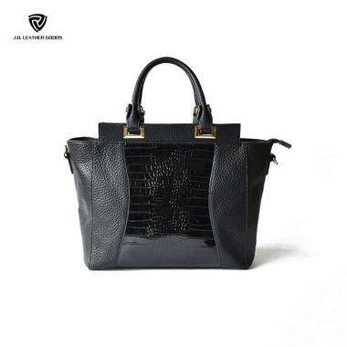 Black Lady Crocodile & Lichee Texture PU High Quality Handbag