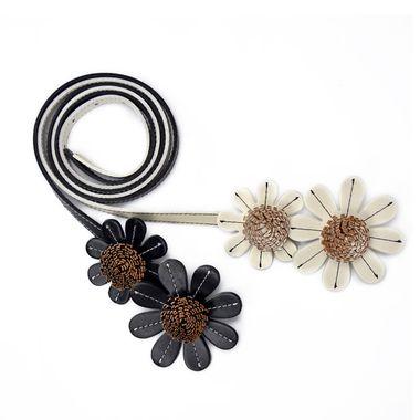 Ladies PU Belt with Flower Patterns