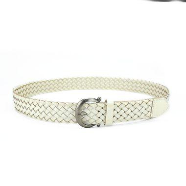 Women White Bonded Leather Braided Belt