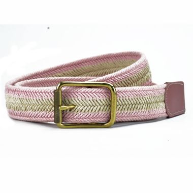 Women's Leather Split and Webbing Belt with Warm Color