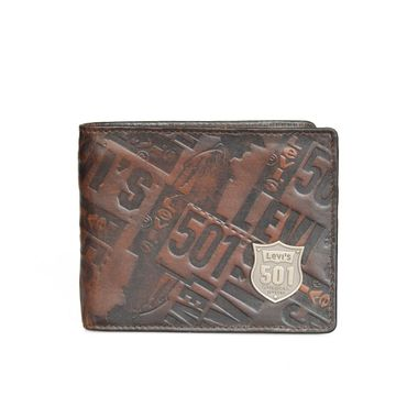 Man Leather Embossed Bifold Wallet with Metal Logo Label
