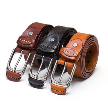 Italian Leather Belt with Leather Covered Buckles