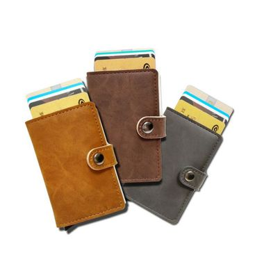RFID Leather Wallet with Automatic Pop-up Card Holder Case