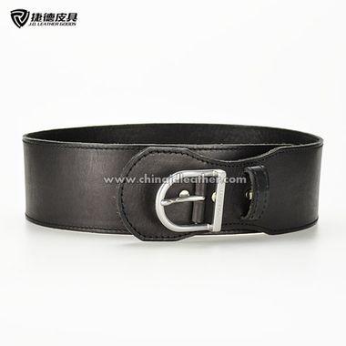 Women Wide Black Full Grain Leather Belt