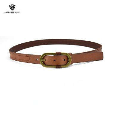 Women Fashion Leather Belt with A Oval Pin Buckle