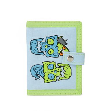 Lovely Printed Fabric Bi-Fold Vertical Wallet with Snap Closure