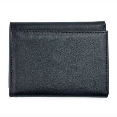 Man Black Tri-Fold Leather Wallet with ID Window