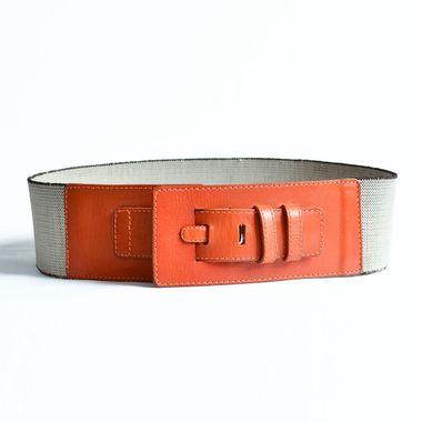 Fashion Custom Lady Fashion Elastic Webbing and Genuine Leather Belt