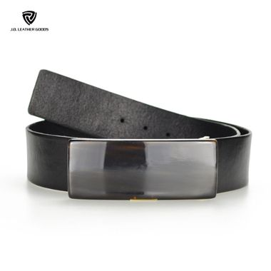 Women Full Grain Leather Belt with A Big Black Resin Buckle