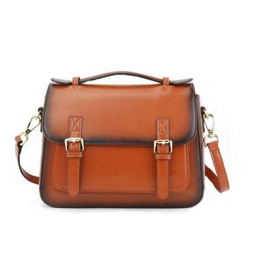 Women Brown Genuine Leather Messenger Bag Shoulder Bag