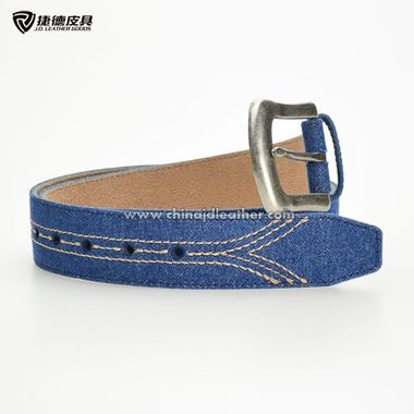 Blue Canvas & Split Leather Belt for Men with Alloy Buckle