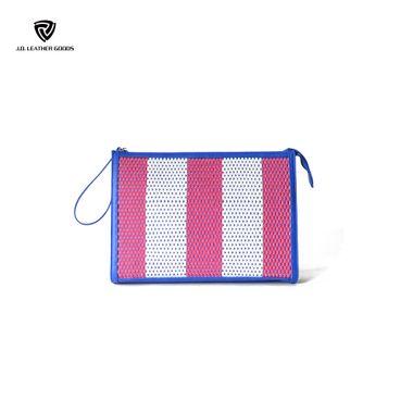 Blue Zipper Closure Braided PU Lady Striped Clutch Bag