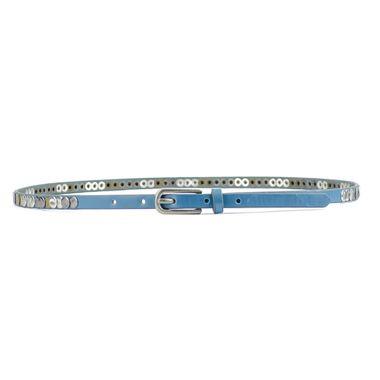 Ladies Blue Skinny Studded Leather Belt