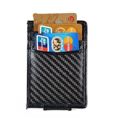Men Carbon Fiber Magnetic Leather Money Clip