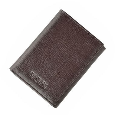 Man Brown Trifold Textured Genuine Leather Wallet
