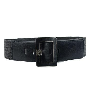 Women Wide Black Elastic Webbing Belt