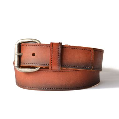 Mens Dyed Full Stitched Leather Belt