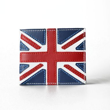 Leather Bifold Wallet with Patched UK Flag