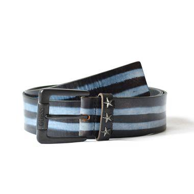 Men Full Grain Leather Blue Strip Printed Leather Belt