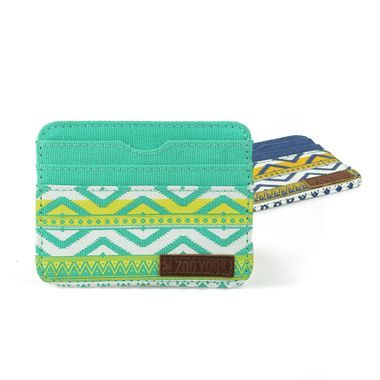 Aztec Printed Canvas Card Case with Leather Label