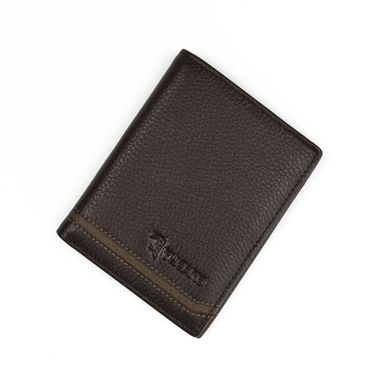 Man Dark Brown Pebble Textured Vertical Leather Wallet