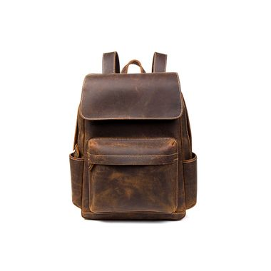 Genuine Leather Crazy Horse Casual Unisex Backpack