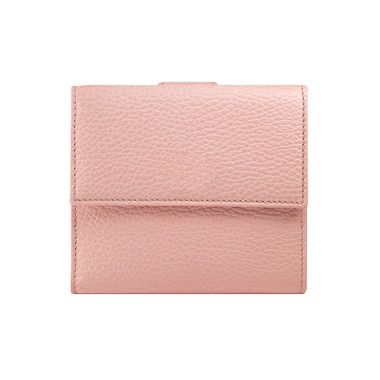 Genuine Leather Mini Folded Pink Wallet