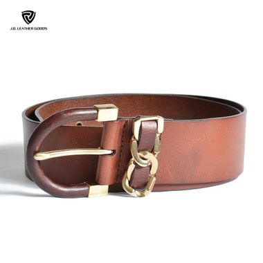 Women Brown Wide Leather Belt