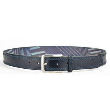 Men Black Double-Stitched Edge Leather Belt