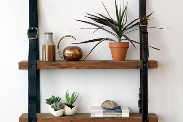 DIY Recycled Leather Belt Wood Shelf